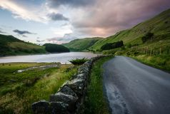 Road by Haweswater Resevoir. Single track road running alongside Haweswater Reservoir in Cumbria Stock Image
