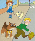 Road hazard. Large dog stopped a boy who wants to cross the road Royalty Free Stock Images