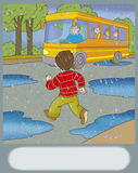 Road hazard. Boy runs across the road to get on the bus Royalty Free Stock Photography