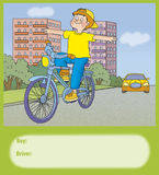 Road hazard. Boy rides a bicycle, whether it is right Royalty Free Stock Photo