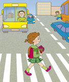 Road hazard. Girl goes across the road Royalty Free Stock Images