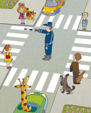 Road hazard. Children think, who must first begin to cross the road Stock Photo