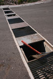 Road Hazards. Open grating makes driving dangerous. holes in grating Royalty Free Stock Photo