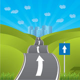 Road heading for city Royalty Free Stock Images
