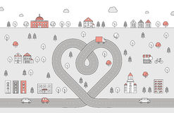 Road heart and city red and gray outline illustration. Stock Image