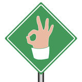 Road help sign ok as hand gesture Royalty Free Stock Photo
