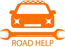 Road help sign with taxi car Stock Image
