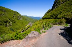 Road high in the Madeiran mountains - Portugal Stock Photos