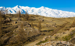 Road in the High snow-capped mountains. Altai Stock Photos
