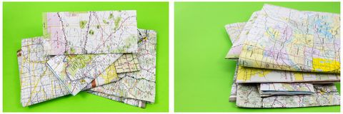 Maps destination pile green background Stock Photography
