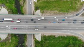 Road highway, drone aerial top view stock video footage