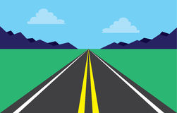 Road Highway Mountains. Highway perspective road in mountain scene Royalty Free Stock Images