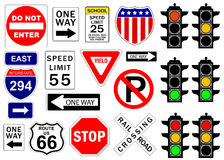 Road and highway signs vector illustration
