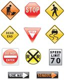 Road and Highway Signs Stock Images
