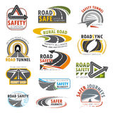 Road highway, turn of freeway, crossroad icon set Royalty Free Stock Photography