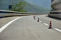 Road-highway with work in progress royalty free stock photo