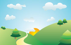 Road on the hill. A vector illustration, landscape of the road and trees on the hill at sunset Vector Illustration