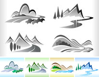 Road And Hill - Color B/W ICON Set Royalty Free Stock Images