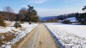 Road on hill for hiking and watching nature - Baden-Wurttemberg. At  winter Royalty Free Stock Images