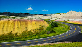 Road through the hills in Badlands National Park Royalty Free Stock Photo