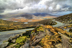 Road in hills of Dingle peninsula. Beautifull pass in hills of Dingle serpentine road Royalty Free Stock Photos