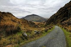 Road in hills of Dingle peninsula. Beautifull pass in hills of Dingle Royalty Free Stock Photos