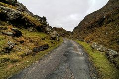 Road in hills of Dingle peninsula. Beautifull pass in hills of Dingle Stock Images