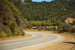Road through the hills in Malibu. California Royalty Free Stock Images
