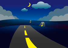 Road on the hills night landscape. Vector illustration Royalty Free Stock Images