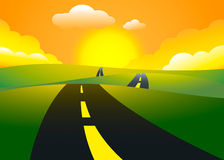 Road on the hills sunset landscape Royalty Free Stock Images