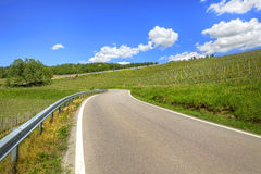 Road through hills and vineyards. Piedmont, Italy. Stock Photos