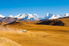 Road Himalaya Mountain Peaks Truck Transportation Stock Image