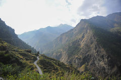 Road of Himalaya. Road to Syabrubensi Nepal cross the mountain Royalty Free Stock Photography