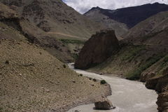 The road in Himalaya. Typical road in Indian Himalaya stock image