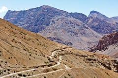 Road in Himalayas. Road in mountains (Himalayas). Spiti Valley, Himachal Pradesh, India royalty free stock image