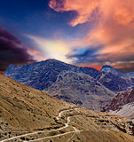 Road in Himalayas. Road in mountains (Himalayas). Spiti Valley, Himachal Pradesh, India royalty free stock images