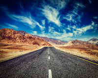 Road in Himalayas with mountains Stock Image
