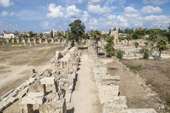 Road at the hippodrome ruins in All-Bass, Tyre, Lebanon Royalty Free Stock Photo