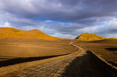 Road with the horizon in Landmannalaugar mountains Stock Images