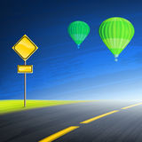 Road and hot air balloons Royalty Free Stock Photo