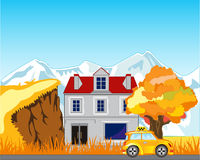 Road and house on nature Royalty Free Stock Photography