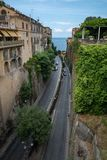 Road between houses in the beautiful town of Sorrento, Italy stock photos