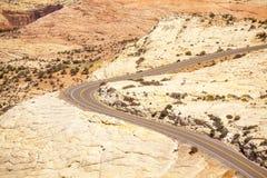 Road through huge plateau in Utah Stock Photo