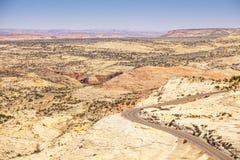 Road through huge plateau in Utah Royalty Free Stock Photo