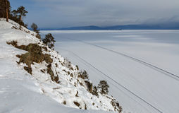 Road on the ice of winter lake Baikal Royalty Free Stock Images