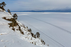 Road on the ice of winter lake Baikal Royalty Free Stock Photos