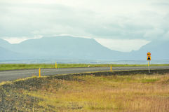 A road, Iceland. Empty road on the morning near Fludir, Iceland Royalty Free Stock Images