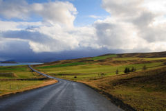Road in Iceland. Road in bright green fields and hills in Iceland Royalty Free Stock Images