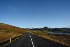 Road in Iceland with Mountain View Royalty Free Stock Images
