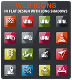 Road icon set. Road icons set in flat design with long shadow Stock Photography